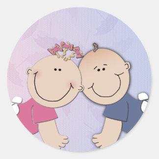 Boy and Girl Twin Theme Design Round Sticker