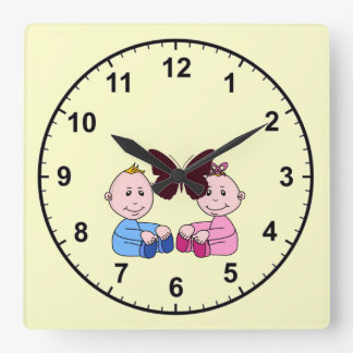 Boy And Girl Twins Square Wall Clock