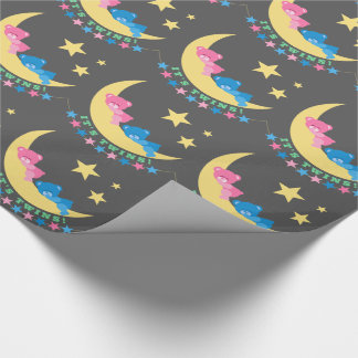 Boy and Girl Twins Teddy Bears on Moon Pattern Wrapping Paper