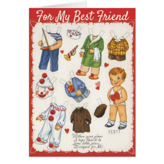 Boy and Girl Valentine's Day Paper Dolls Vintage Card