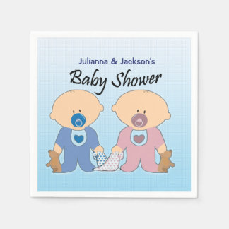 Boy and Girls Twins Baby Shower Napkins Paper Napkins