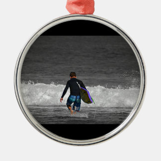 BOY AND HIS BOOGIE BOARD METAL ORNAMENT