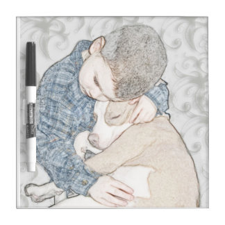 Boy and his dog dry erase whiteboards