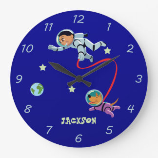 Boy and His Dog in Space Wall Clocks
