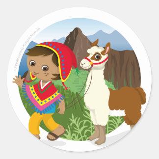 Boy and his llama round sticker
