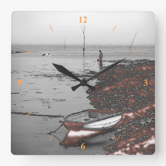 Boy and Seagull fishing by a nuclear power station Square Wall Clock
