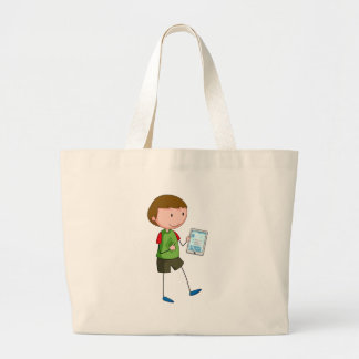 Boy and tablet large tote bag