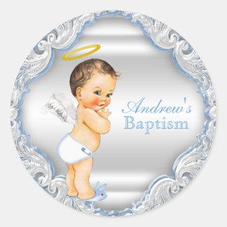 Boy Angel Baptism Christening Classic Round Sticker