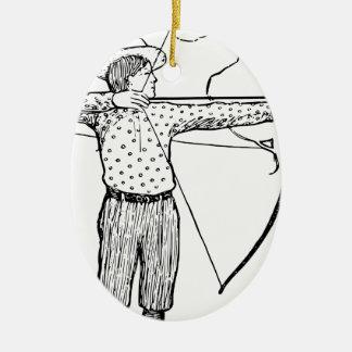 Boy Archer Illustration Ceramic Oval Decoration