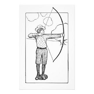 Boy Archer Illustration Custom Stationery