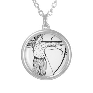 Boy Archer Illustration Silver Plated Necklace