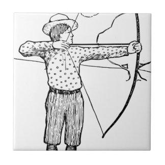 Boy Archer Illustration Small Square Tile