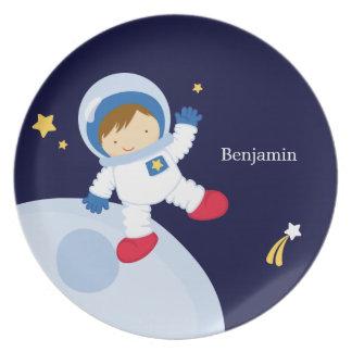 Boy Astronaut Kid's Personalized Plate