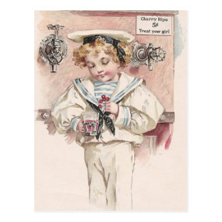 Boy at Soda Fountain Postcard
