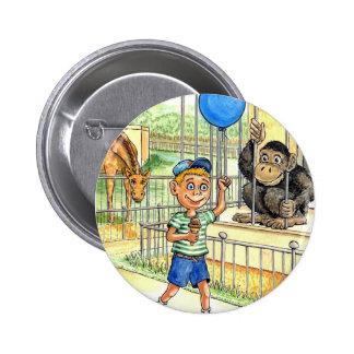 Boy at zoo button