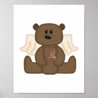 Boy Autism Awareness Bear Poster