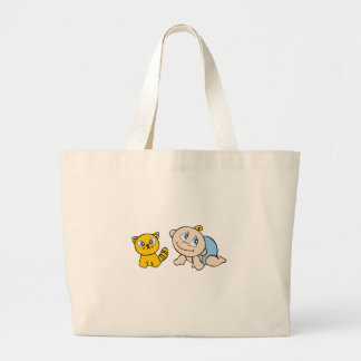 Boy Baby and Cat Tote Bag
