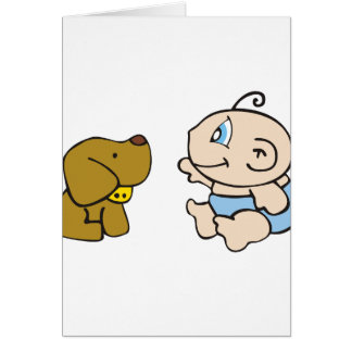 Boy Baby and Dog Card
