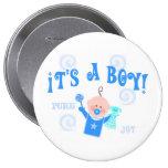 Boy Baby Button Announcement