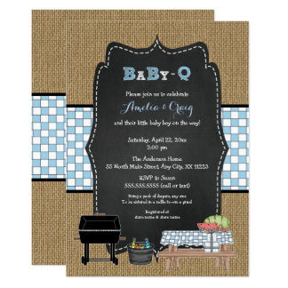Boy Baby-Q Baby Shower, BBQ baby shower Card