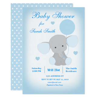 Boy Baby Shower Blue Elephant Invitation