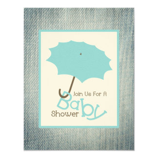 Boy Baby Shower - Blue Umbrella & Denim 11 Cm X 14 Cm Invitation Card