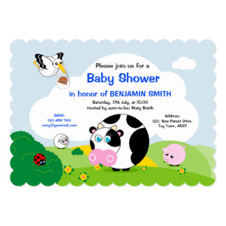Boy Baby Shower: Cute black and white cow , Card