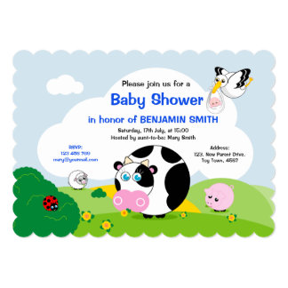 Boy baby shower: Cute black and white cow scene, Card