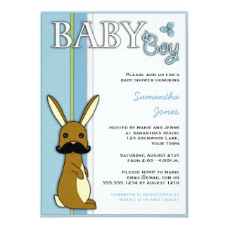 Boy Baby Shower Cute Bunny with Mustache - Blue Card