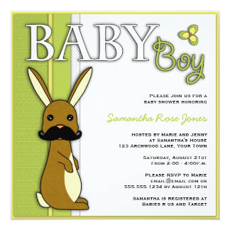 Boy Baby Shower Cute Bunny with Mustache - Green 13 Cm X 13 Cm Square Invitation Card