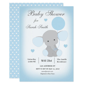 Boy Baby Shower Invitation Elephant Blue