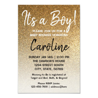 Boy baby shower invitation Gold faux glitter ombre