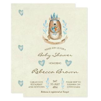 boy baby shower invitation woodland forest bear