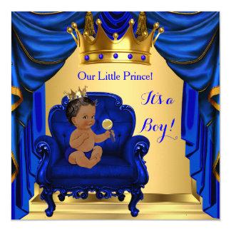 Boy Baby Shower Prince Royal Blue Gold Dark Skin Card