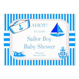 Boy Baby Shower Sailor Light Blue Sailboat Sneaker 11 Cm X 16 Cm Invitation Card