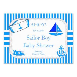 Boy Baby Shower Sailor Light Blue Sailboat Sneaker 11 Cm X 16 Cm Invitation Card