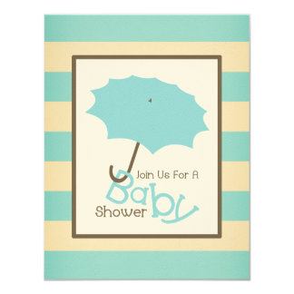 Boy Baby Shower Umbrella & Vintage Blue Stripes 11 Cm X 14 Cm Invitation Card