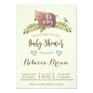 boy baby shower woodland forest bear cute card