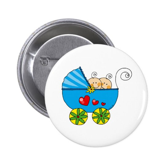Boy baby twins 6 cm round badge