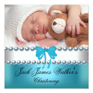 Boy Baptism Christening Boy White Blue Bow Photo 13 Cm X 13 Cm Square Invitation Card