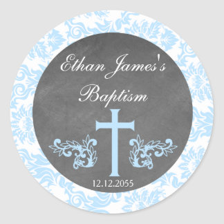 Boy Baptism Favor Stickers Tags