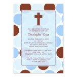 Boy Baptism Inviation Brown & Blue Polka Dots Personalized Announcement