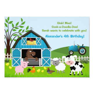 Boy Barnyard Farm Animals Birthday Invitations
