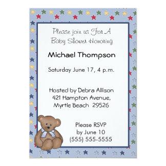 Boy Bear and Stars 13 Cm X 18 Cm Invitation Card
