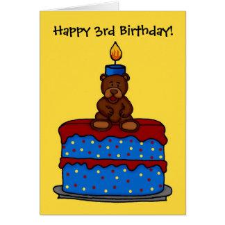 boy bear on 3rd birthday cake card