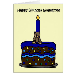 boy bear on cake grandson birthday card