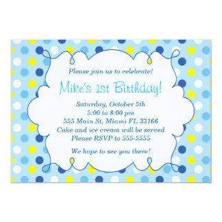 Boy Birthday Invitation Blue Yellow Polka Dots