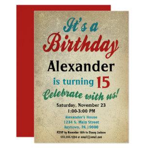 Boy Birthday Invitation Teen Tween Kids Any Age