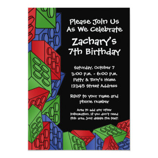 Boy Birthday Party - Building Blocks 13 Cm X 18 Cm Invitation Card