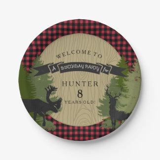 Boy Birthday Party Rustic Hunting Deer Antler Tree Paper Plate